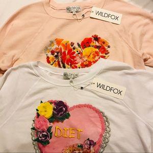 Wild fox sweater lot M heart diet cake flowers LS